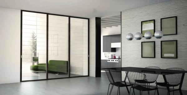schiebetür design glas aluminium esszimmer