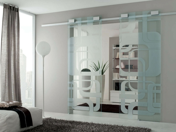 schiebetüren glas schöne textur innnedesign ideen