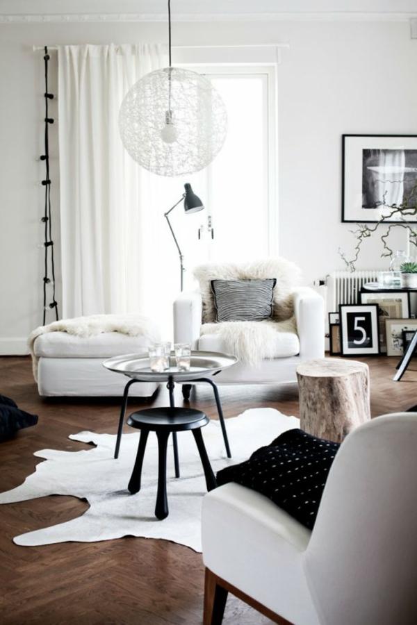 skandinavisches wohnzimmer kuhfell teppich fellauflagen skandinavische wohnaccessoires
