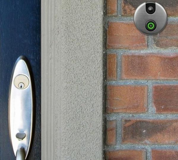 smart tür klingel rund camera ziegelwand