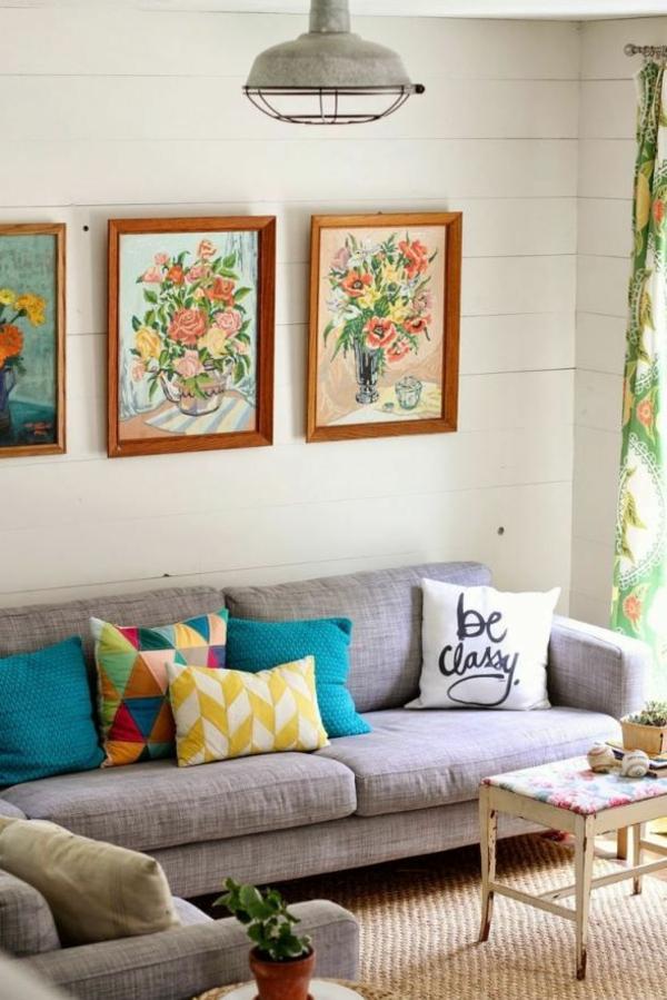 sofakissen sofa dekorieren bilder blumen sisalteppich