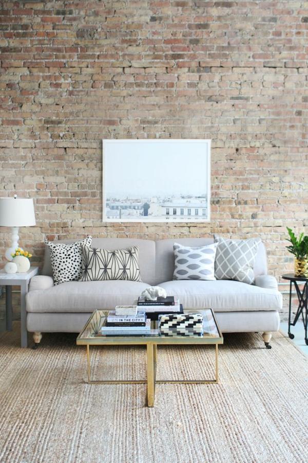 sofakissen wohnzimmer sofa ziegelwand sisalteppich