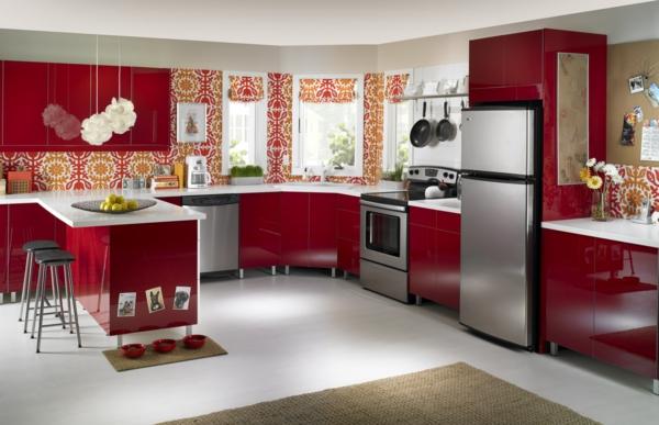 spülmaschinen hochglanz rot kücheninsel