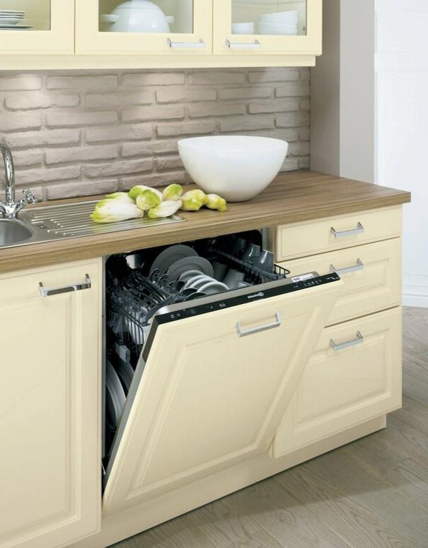 spülmaschinen traditionell dekorative ziegelwand küchenrückwand