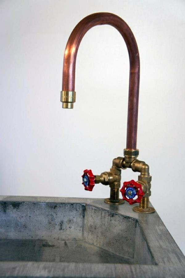 spültischarmatur wasserhahnarmatur praktisch küchenspüle rustikal beton