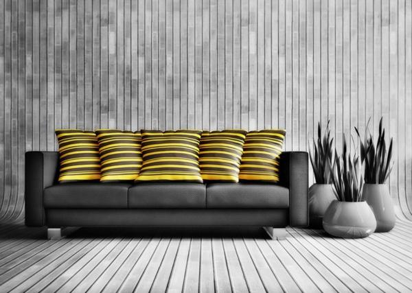 stilvolles schwarzes sofa wunderschöne dekokissen