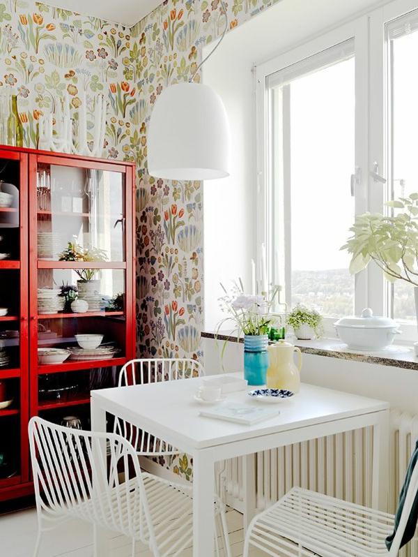 tapete küche florale elemente weißer tisch