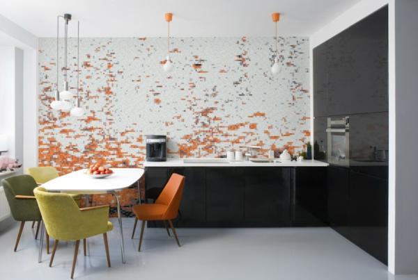 tapete küche mosaik muster farbige küchenstühle
