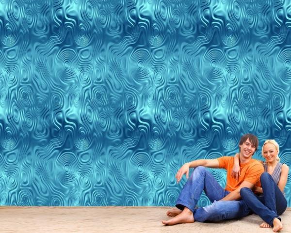 tapete muster blau nuancen schöne wandgestaltung