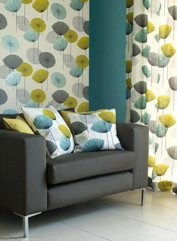 tapete muster gardinen florale elemente wohnzimmer