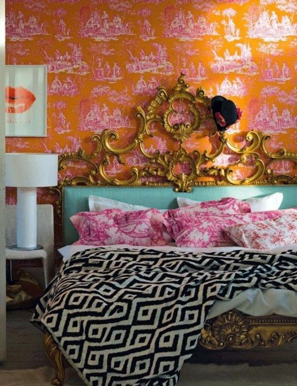 tapete muster ornge abbildungen schlafzimmer
