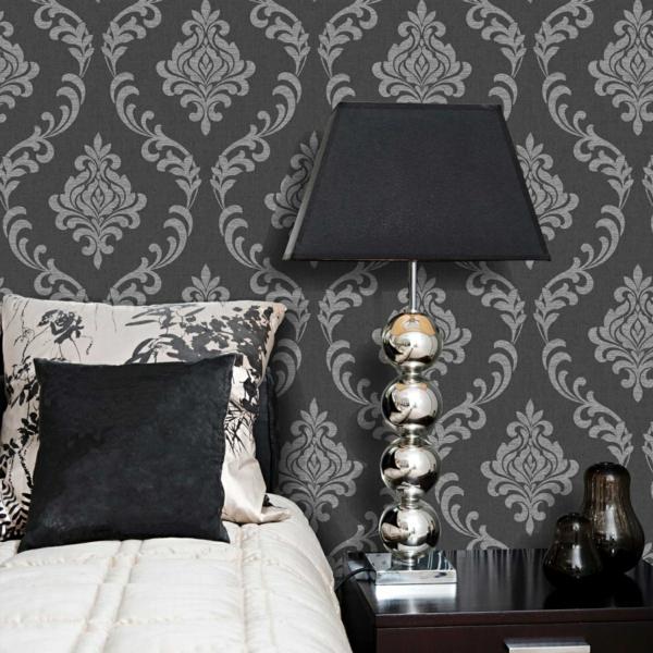 tapete schlafzimmer wände verkleiden barockstil