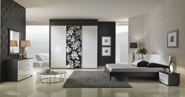 elegantes schlafzimmer schöne akzentwände beistelltisch