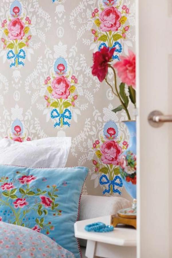 tapete schlafzimmer wandgestaltung florale motive
