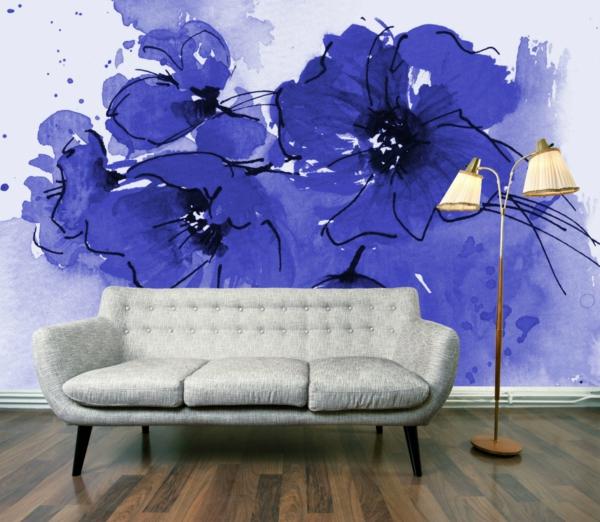tapete wohnzimmer malerei florale motive