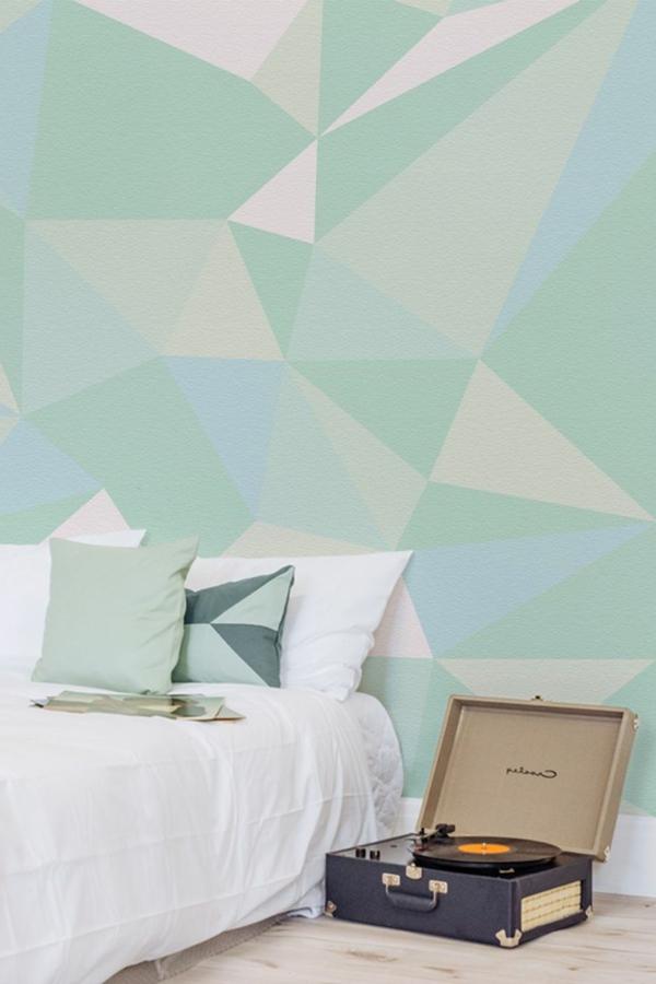 tapeten im schlafzimmer mit geometrischem muster