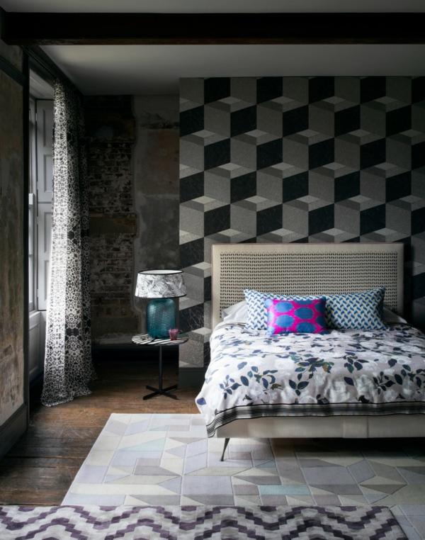 tapeten modernes schlafzimmer mit geometrischem tapetenmuster