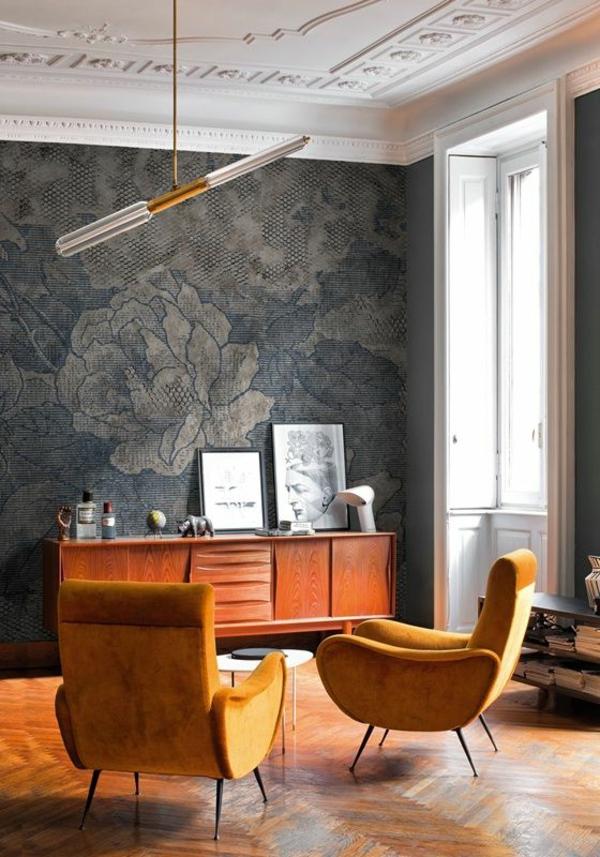 tapeten stilvolles wanddesign mit blumenmuster im wohnzimmer