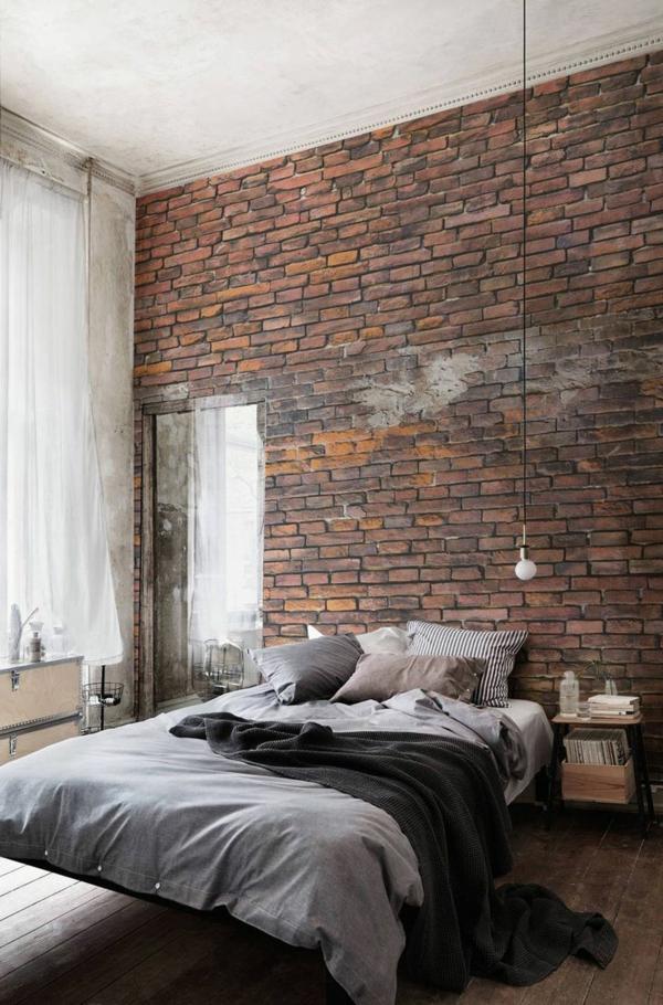 tapeten ziegelwand im schlafzimmer füreinen industriellen look