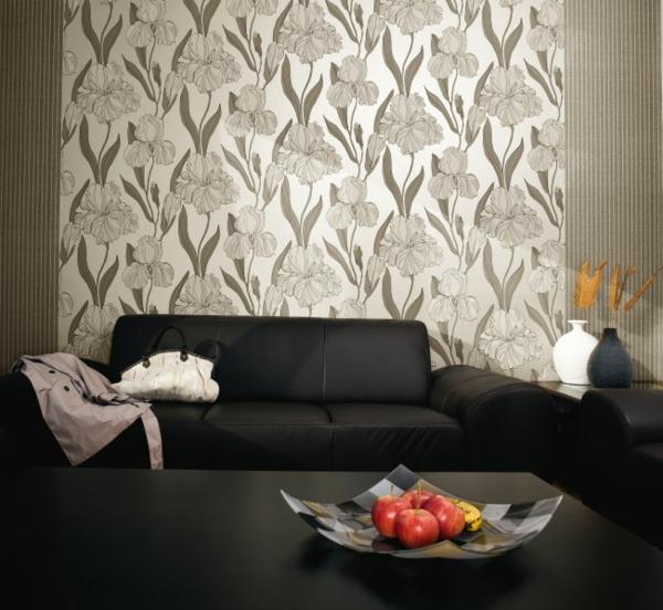 tapetenmuster elegant wohnzimmer schwarzer teppich