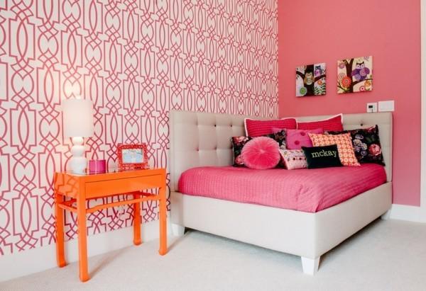 tapetenmuster für das schlafzimmer auswählen für das innendesign in rosa