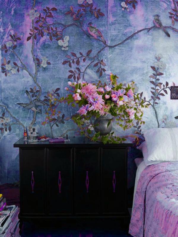tapetenmuster schlafzimmer wände verkleiden pflanzen