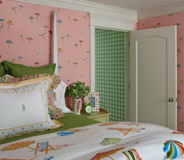 Tapetenmuster Sonnenschirme Rosa Schlafzimmer