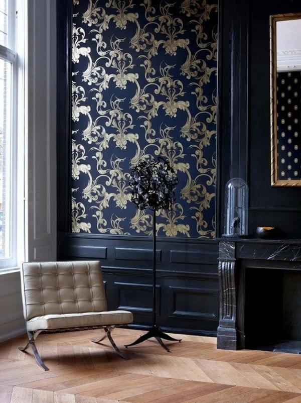 tapetenmuster stilvoll dunkelblau goldene ornamente