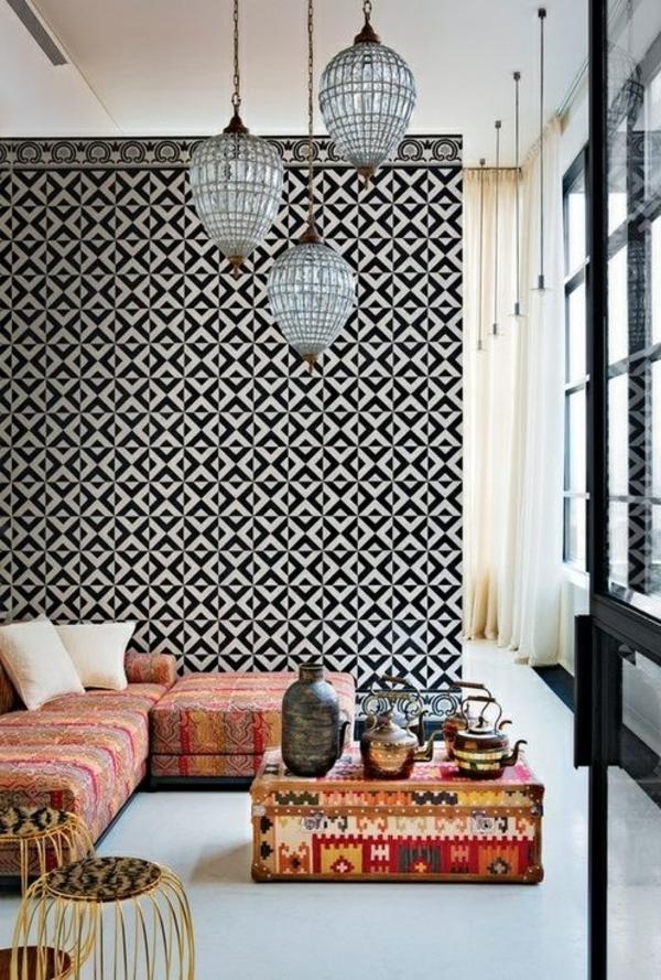 tapetenmuster wohnzimmer ecksofa beistelltische pendelleuchten