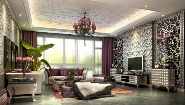 tepeten wohnzimmer luxuriöse wandgestaltung und wunderschöne deckengestaltung