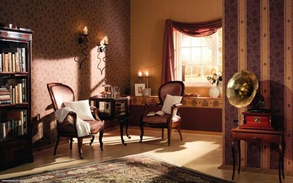 tepeten wohnzimmer super elegantes muster und warme farben