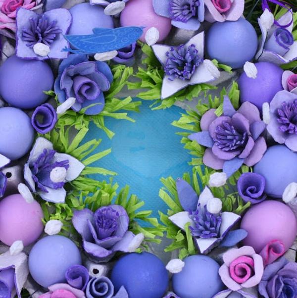 tischdeko zu ostern bunte eier osterkranz lila