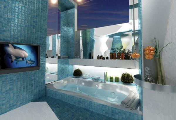 traumbäder eigebaute badewanne blaue fliesen fernseher