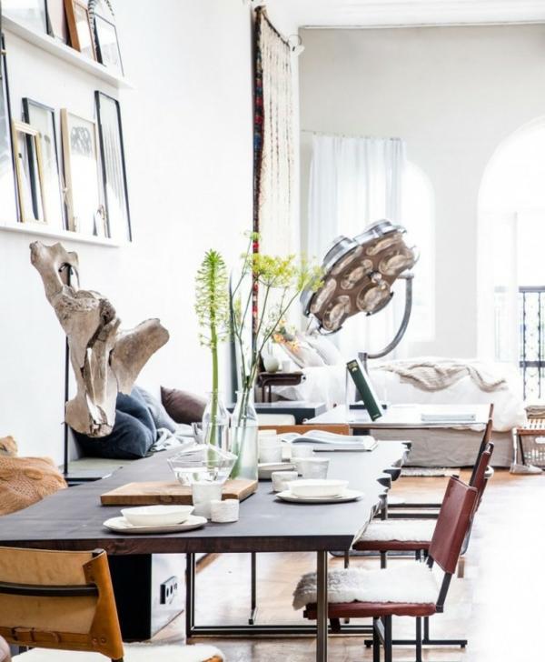 traumhäuser Amsterdam Loft esszimmertisch mit stühlen