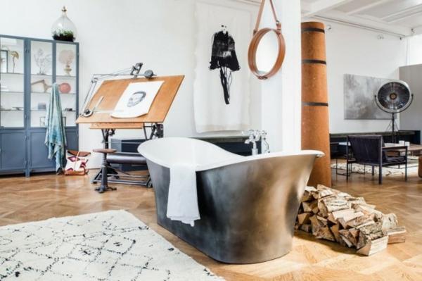 traumhäuser Amsterdam Loft freistehende badewanne