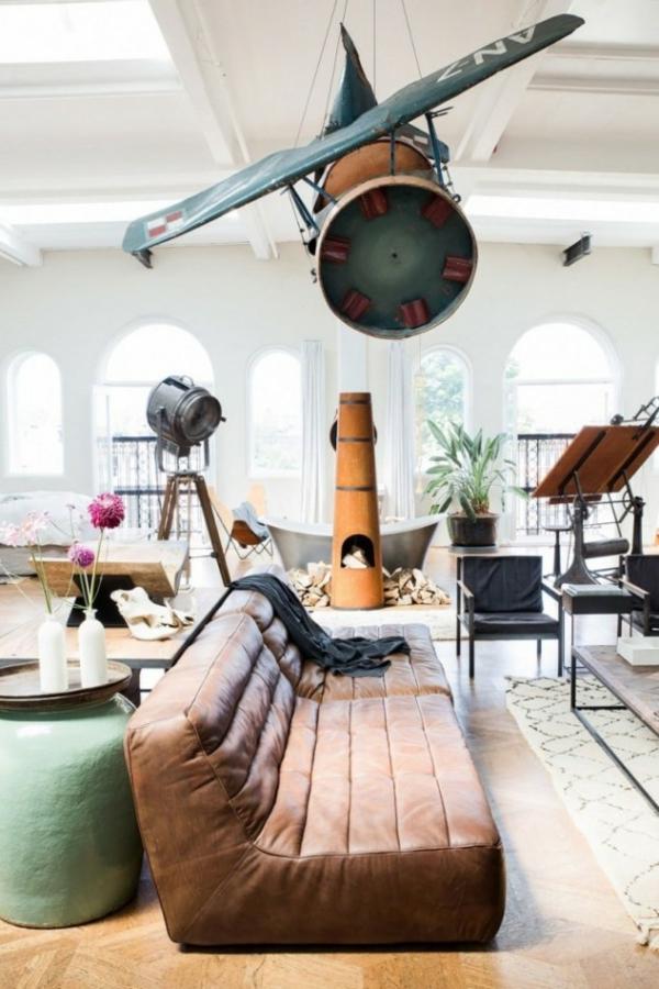 traumhäuser Amsterdam Loft wohnzimmer sofa aus leder
