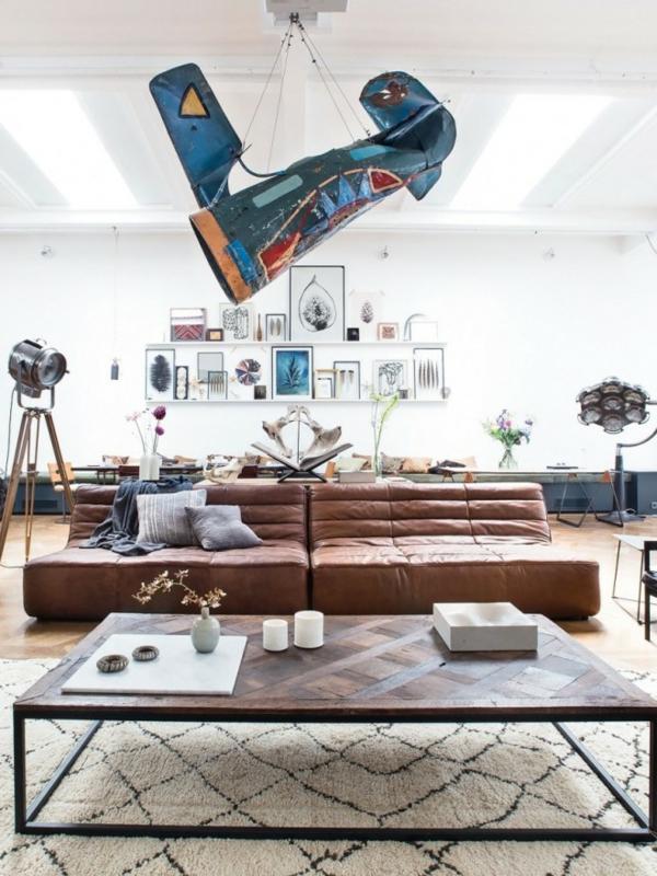 traumhäuser Amsterdam Loft wohnzimmer sofa leder couchtisch holz
