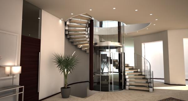 treppe glas beton siller spiralförmig business lift