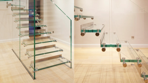 treppe glas gerade linien siller londra design