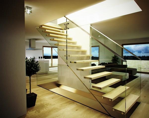 treppe glas helles holz treppengeländer