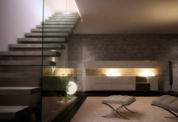 treppen glas siller glaswand beton stufen schwebend