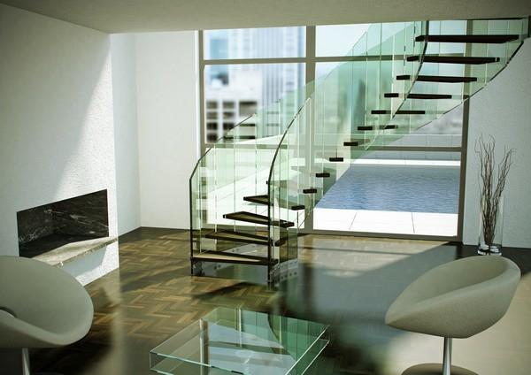 treppen glas spiralförmig holzstufen glastisch