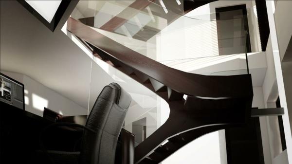 treppe siller geschwungene linien holz melbourne glas