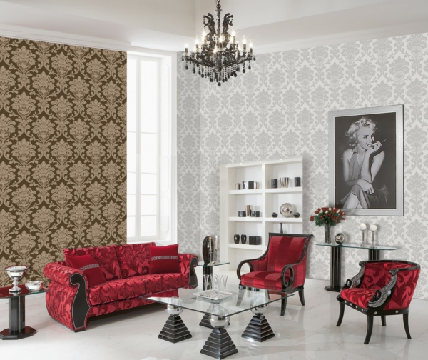 vliestapete luxus muster klassisch kronleuchter