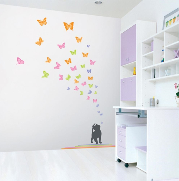 kinderzimmer wandgestaltung schmetterling. Black Bedroom Furniture Sets. Home Design Ideas