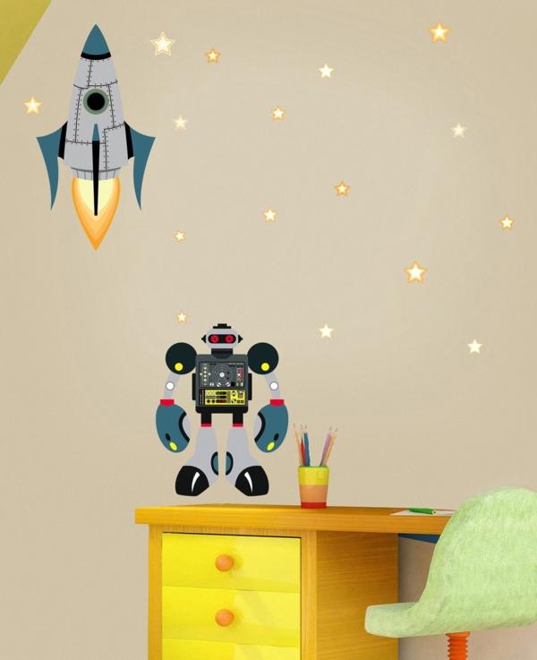 wanddeko kinderzimmer roboter jungenzimmer