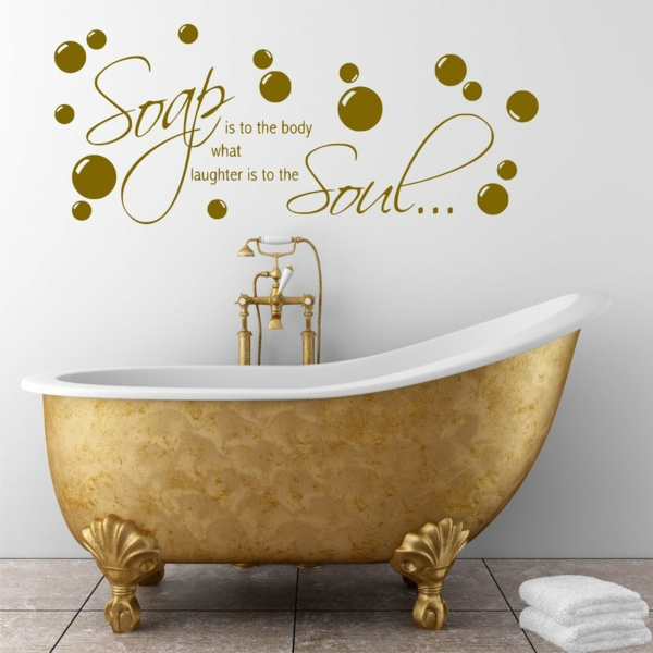 Wandsprüche Badezimmer Wand Goldene Badewanne
