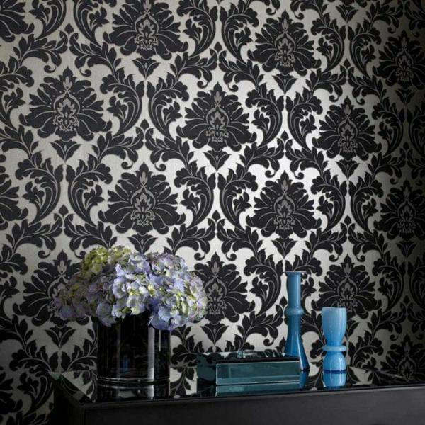 Wandtapeten Barock Weiß Schwarz Farbkonrast Wandgestaltung