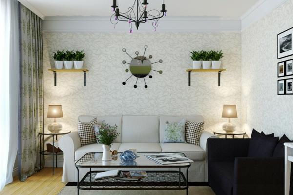 wohnzimmer gestalten dekorieren zimmerpflanzen wandtapete tischlampen