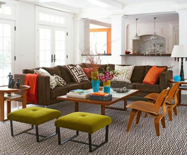 Ideen wohnzimmer gestalten : ideen farben hocker samt wohnzimmer neu ...